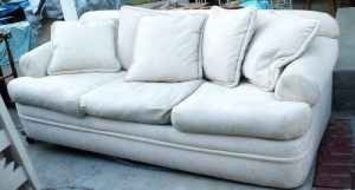 SHABBY CHIC OFF WHITE SOFA COUCH W/ DOWN/FEATHER F   $150