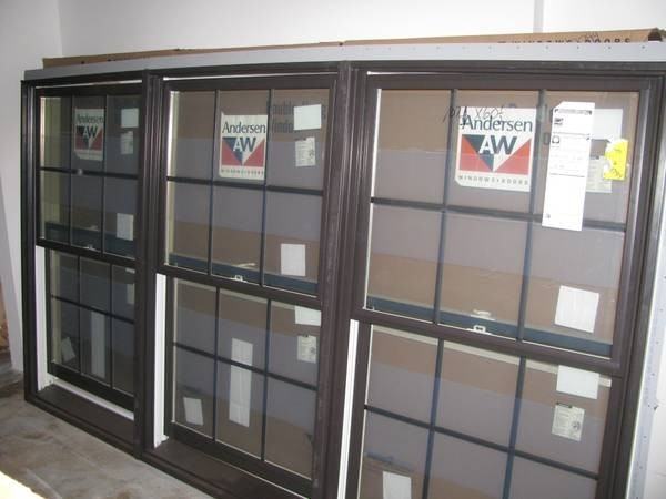 Three Wide Double Hung Windows : New dark bronze andersen triple double hung windows