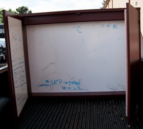 Superbe Conference Mahogany Dry Erase Board W/Cabinet*2 Doors*Professional*NEW    $450