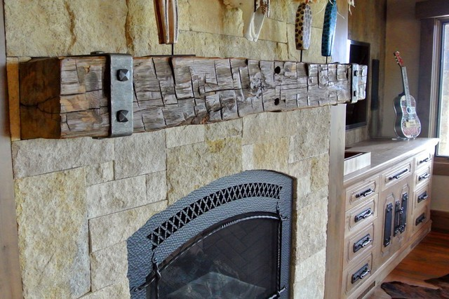 Reclaimed Barn Wood Fireplace Mantels Hollowed Out For Easy Install