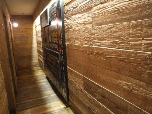 Details: - Reclaimed Barn Wood Siding, Weathered Planks, Wainscoting, Grey
