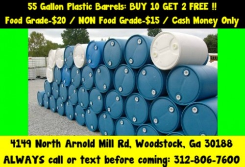 $15 atlanta georgia plastic poly hdpe rain water barrel drum