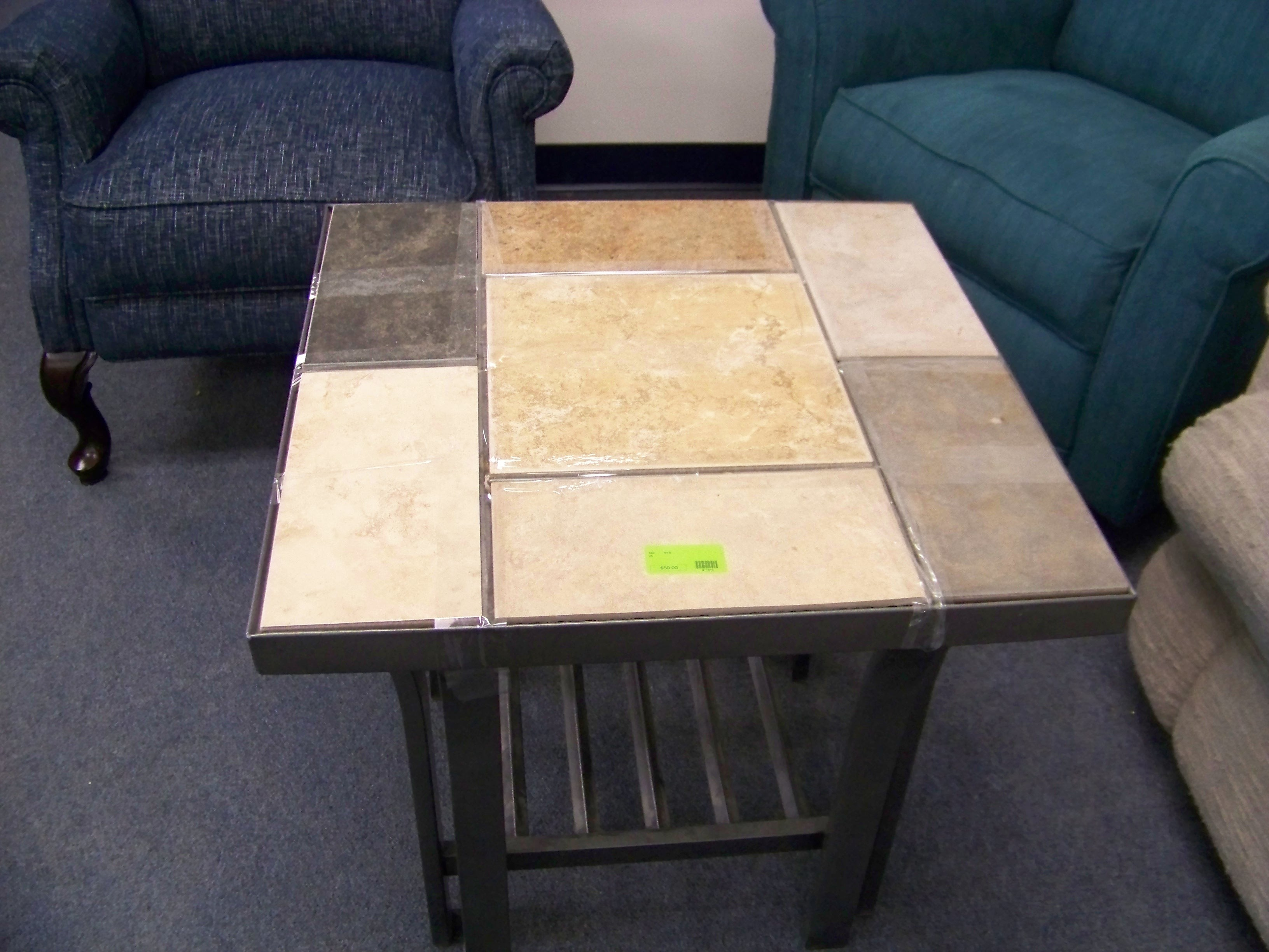 Metal and stone coffee table diggerslist for Coffee table 80 x 50