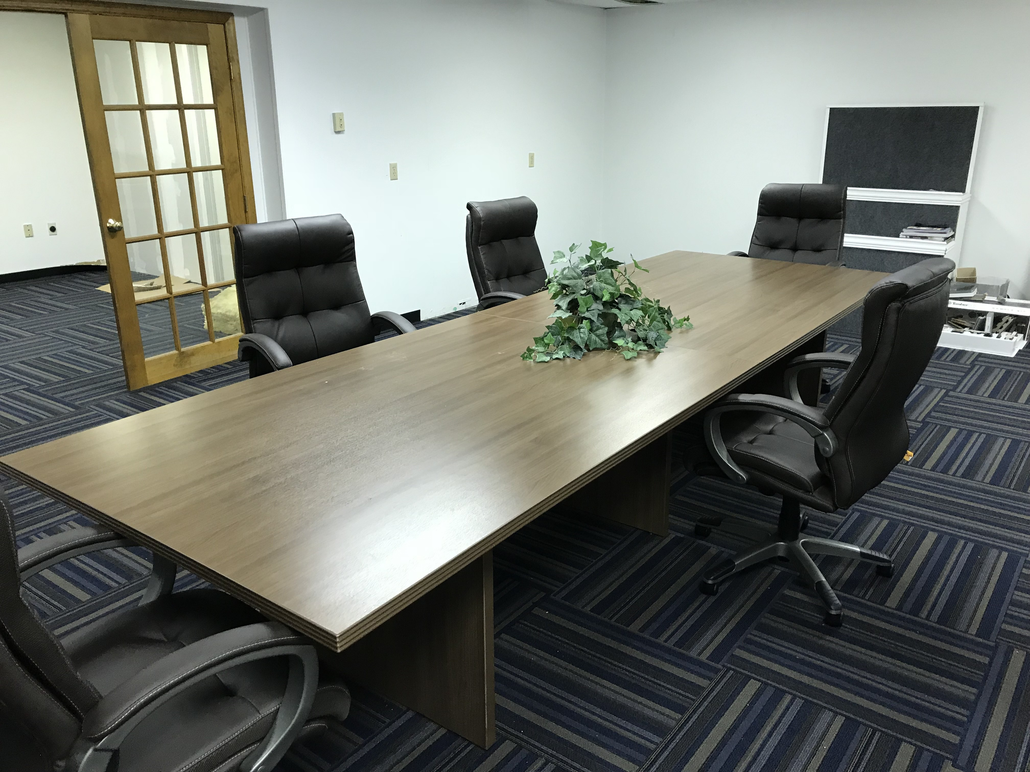 12 ft conference table with 6 leather chairs brand new for 12 ft table