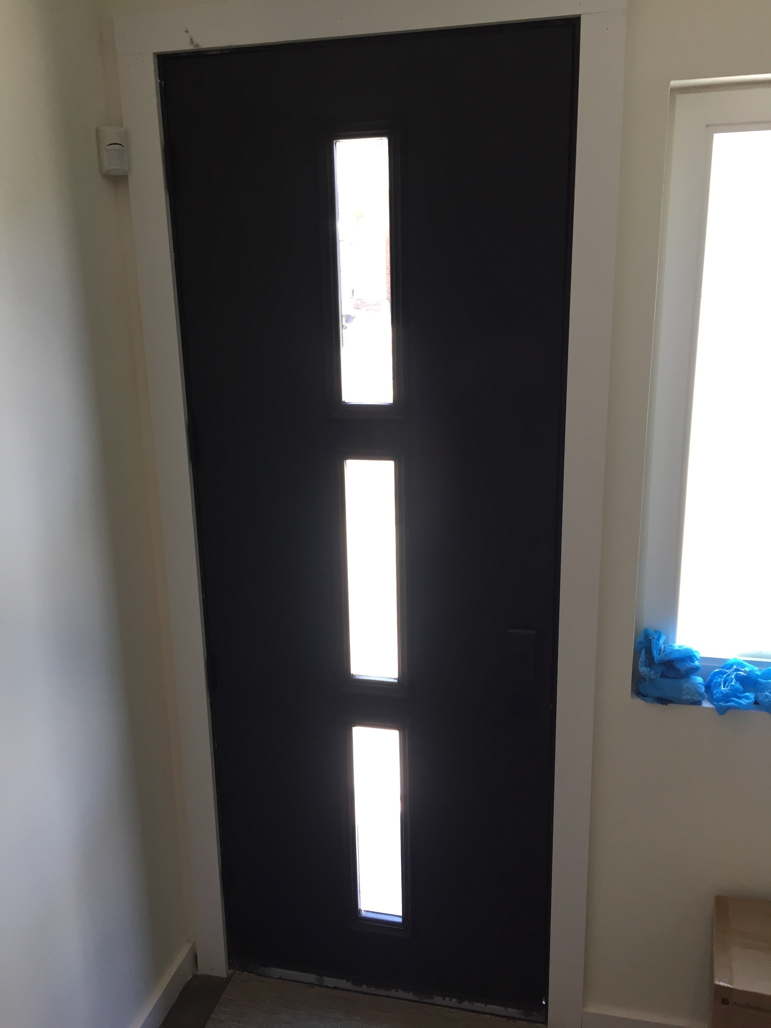 8 Black Metal Clad Glass Craft Entry Door Three Light Diggerslist
