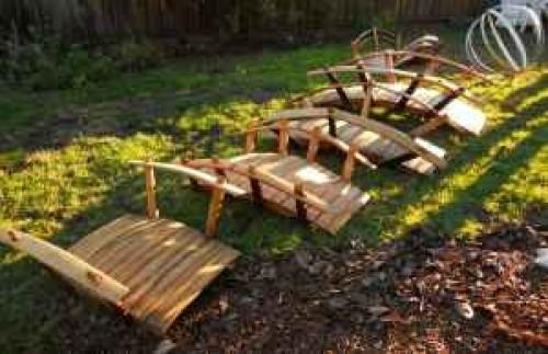 Garden bridges 100reclaimed oak from wine barrels 3 4 5 6 for Garden pond bridges sale