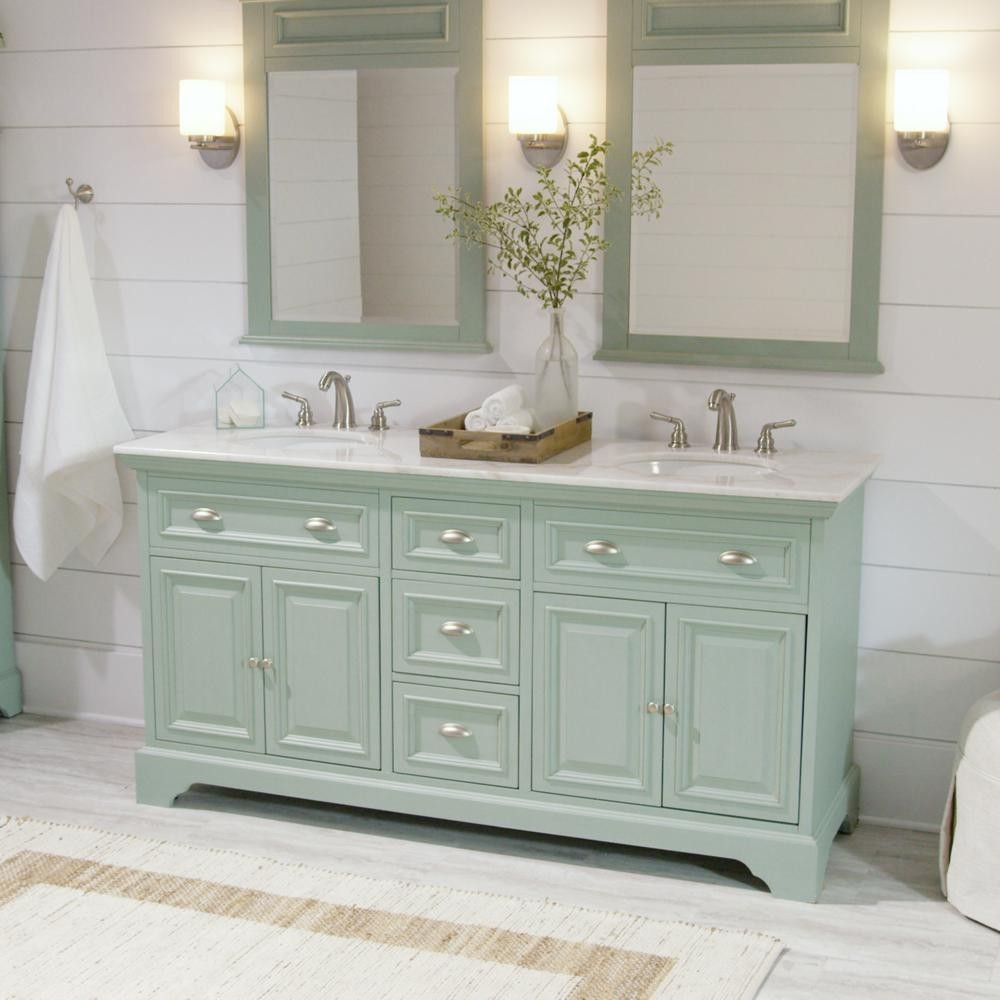 New 67 in double vanity with marble vanity top diggerslist for Home depot double bathroom vanity