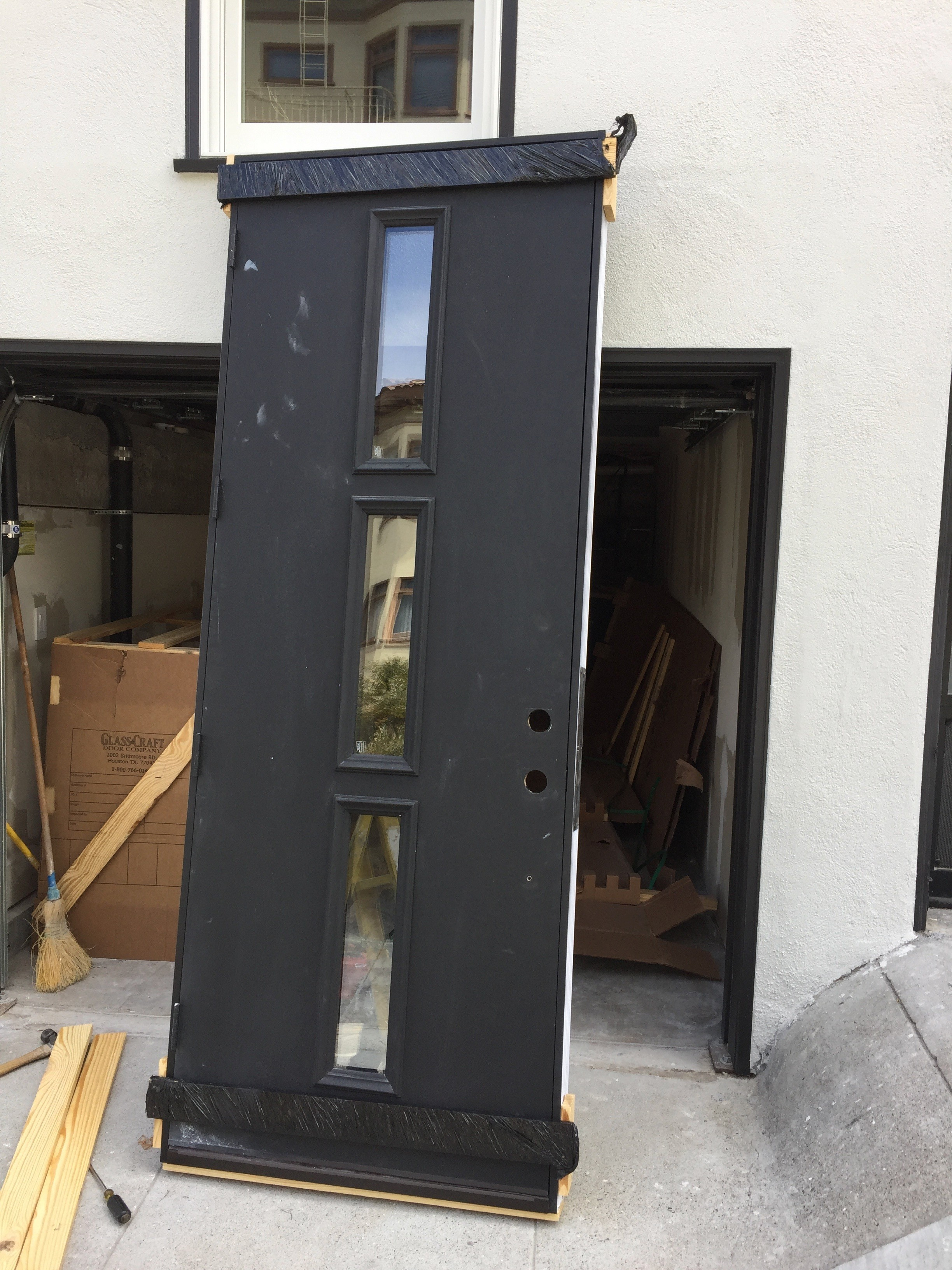 8 39 Black Metal Clad Glass Craft Entry Door Three Light Diggerslist
