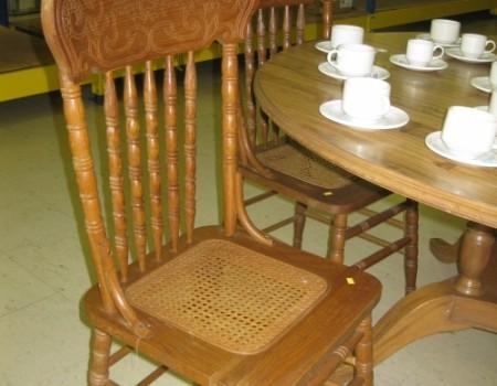Wicker Bottom Wood Chairs