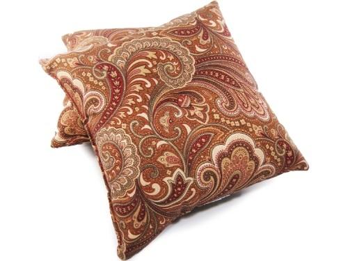 CUTE Set Of 2 Paisley Maroon Decorative Pillows   $11.99