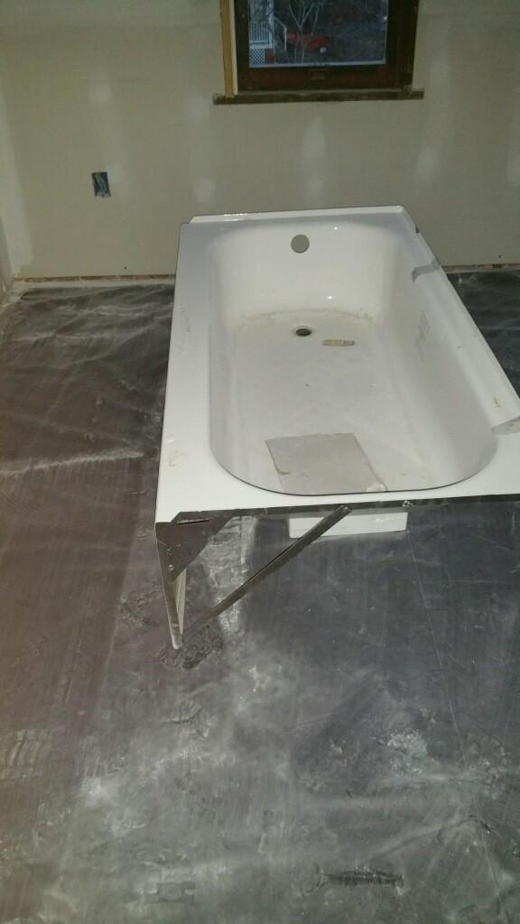 New unused proflo standard size left drain alcove bathtub for Alcove bathtub dimensions